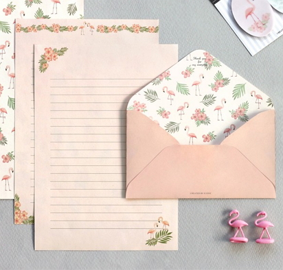 flamingo writing paper [flamingo writing paper, stationery writing paper, stationery flamingo]